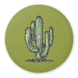 Cactus Illustration Ceramic Knob