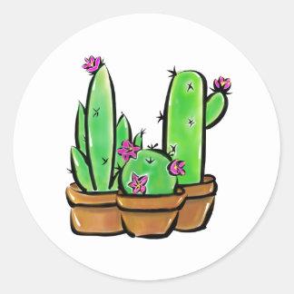 Cactus joy classic round sticker
