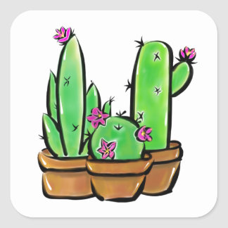 Cactus joy square sticker