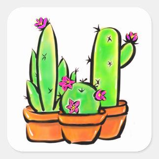 Cactus joy - warm hue square sticker