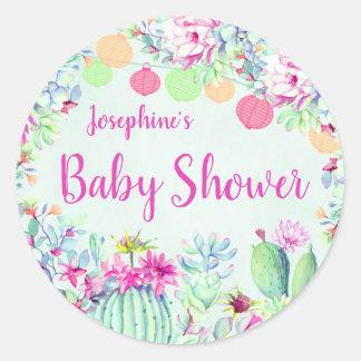 Cactus Lantern Fiesta Succulents Baby Shower Classic Round Sticker