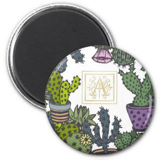 Cactus Monogram A 2 Inch Round Magnet