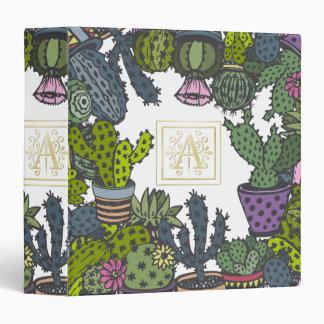 Cactus Monogram A 3 Ring Binder