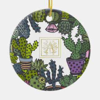 Cactus Monogram A Ceramic Ornament