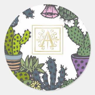 Cactus Monogram A Classic Round Sticker