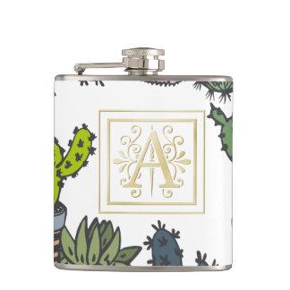 Cactus Monogram A Hip Flask