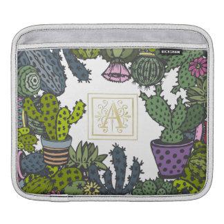 Cactus Monogram A iPad Sleeves