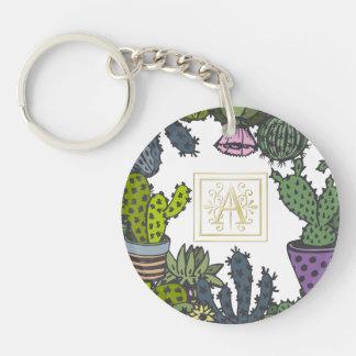 Cactus Monogram A Keychain