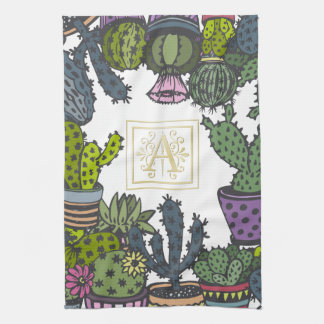 Cactus Monogram A Kitchen Towel
