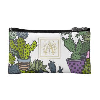 Cactus Monogram A Makeup Bag