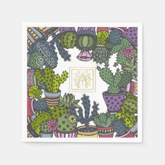 Cactus Monogram A Paper Napkin