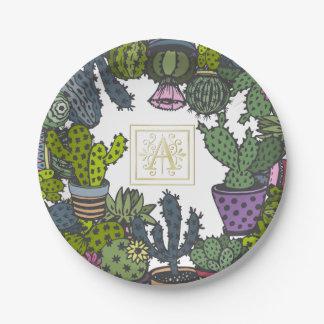 Cactus Monogram A Paper Plate