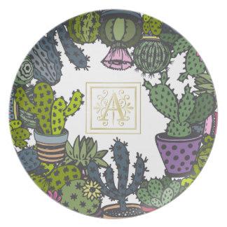 Cactus Monogram A Plate