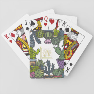 Cactus Monogram A Playing Cards