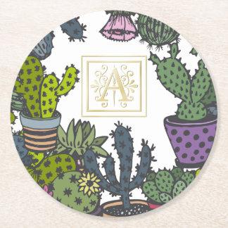 Cactus Monogram A Round Paper Coaster