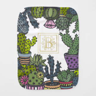 Cactus Monogram B Burp Cloth