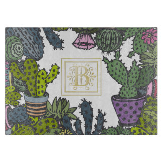 Cactus Monogram B Cutting Board