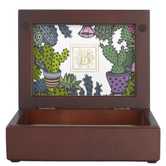 Cactus Monogram B Keepsake Boxes