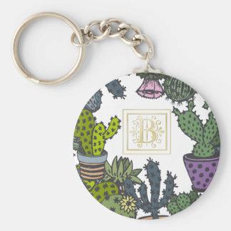Cactus Monogram B Keychain
