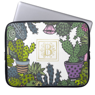 Cactus Monogram B Laptop Sleeve