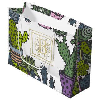Cactus Monogram B Large Gift Bag