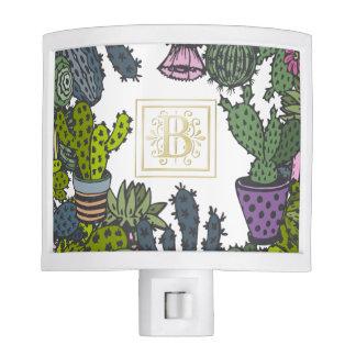 Cactus Monogram B Nite Light