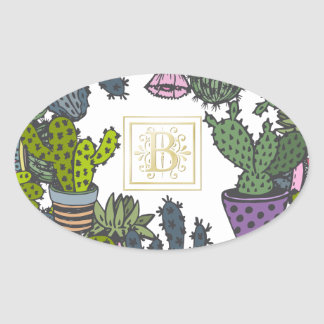 Cactus Monogram B Oval Sticker