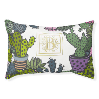 Cactus Monogram B Pet Bed