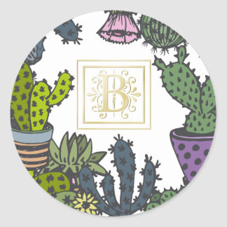 Cactus Monogram B Round Sticker
