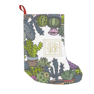 Cactus Monogram B Small Christmas Stocking