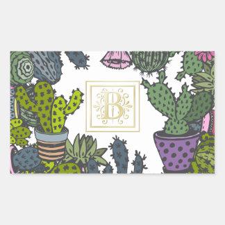 Cactus Monogram B Sticker