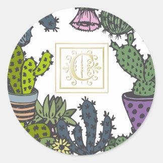 Cactus Monogram C Classic Round Sticker