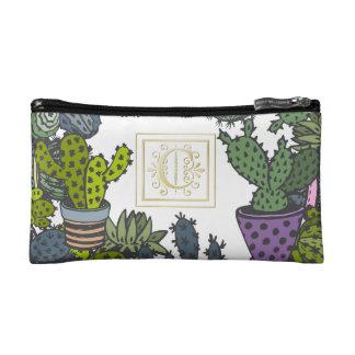 Cactus Monogram C Cosmetic Bag
