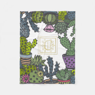Cactus Monogram C Fleece Blanket