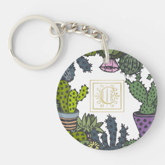 Cactus Monogram C Keychain