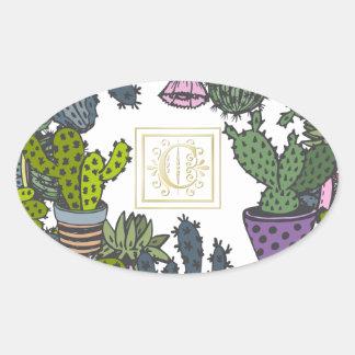 Cactus Monogram C Oval Sticker