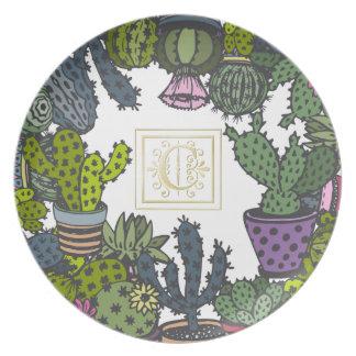 Cactus Monogram C Plate