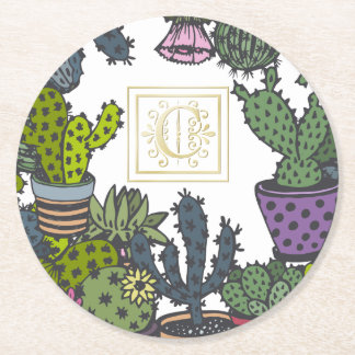 Cactus Monogram C Round Paper Coaster