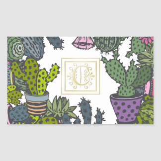 Cactus Monogram C Sticker
