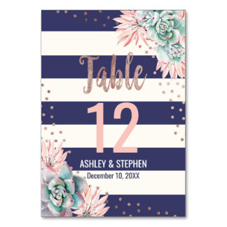 Cactus Navy Stripes Rose Gold Table Numbers
