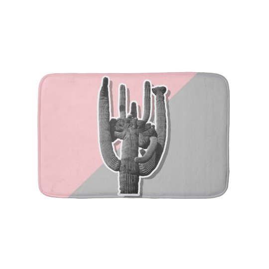 Cactus On Pink and Grey Background Bath Mat