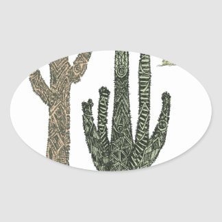 Cactus Oval Sticker