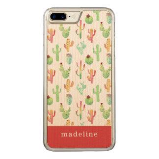Cactus Pastel Watercolor Pattern Carved iPhone 8 Plus/7 Plus Case