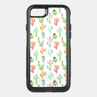 Cactus Pastel Watercolor Pattern OtterBox Commuter iPhone 8/7 Case