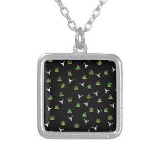 Cactus pattern silver plated necklace