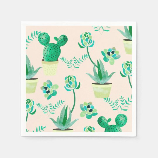 Cactus Pattern standard paper napkin