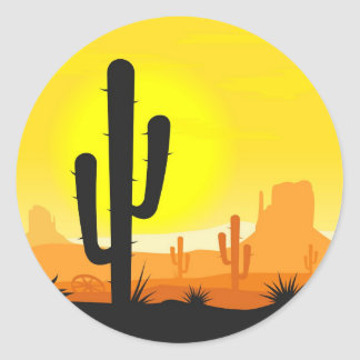 Cactus plants in desert round sticker