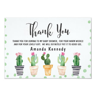 Cactus Pots Baby Shower Thank You Card