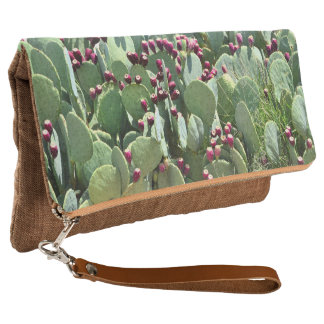 Cactus Prickly pear bush fold-over clutch