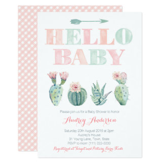 Cactus Prickly Pear Pink Green Baby Shower Cards